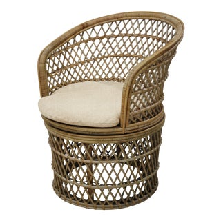 Barrel Swivel Chair, Beige, Rattan For Sale