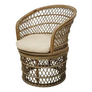 Barrel Swivel Chair, Beige, Rattan For Sale