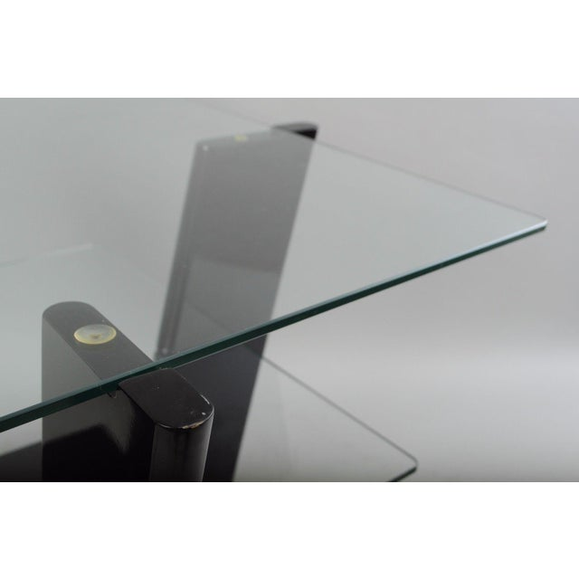 Pair of Contemporary Modern Black Lacquer & Glass 3 Tier End Tables Sculptural For Sale - Image 10 of 11