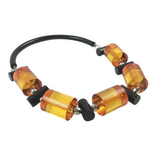 Judith Hendler Orange and Black Acrylic Lucite Neck Ring Necklace For Sale