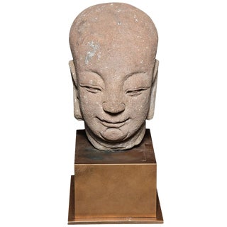 18th Century, Chinese Ming Dynasty Hand-Carved Stone Head of a Buddhist Monk For Sale