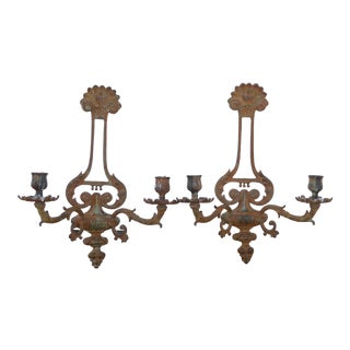 Rustic Vintage Floral Design Cast Iron Two Arm Sconce Candle Holders - a Pair For Sale