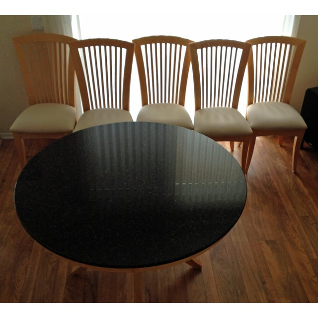 Granite-Top Dinette & 5 Side Chairs - Image 6 of 8