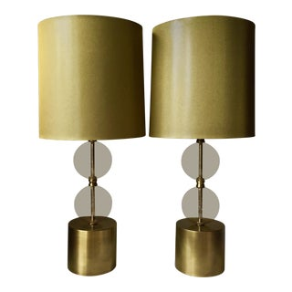 2 Arteriors Home Gold Seeded Glass Lamps & Shades For Sale