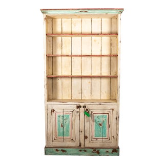1980s Painted Distressed Two-Door Cupboard For Sale