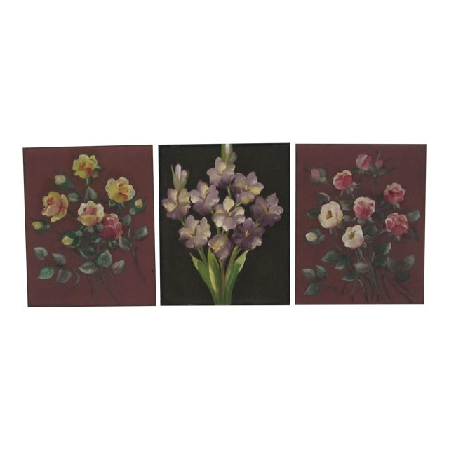 1940's Still Life Floral Paintings on Silk-3 Pieces For Sale