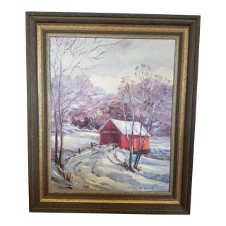 """Alice W. Wood """"Old Covered Bridge, Brown County Indiana"""" Painting For Sale"""