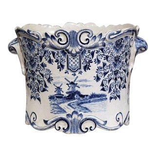 Large 18th Century French Hand-Painted Blue and White Ceramic Delft Cachepot For Sale