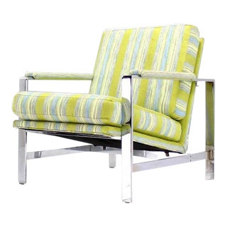 Green Striped Mid-Century Modern Lounge Chair For Sale