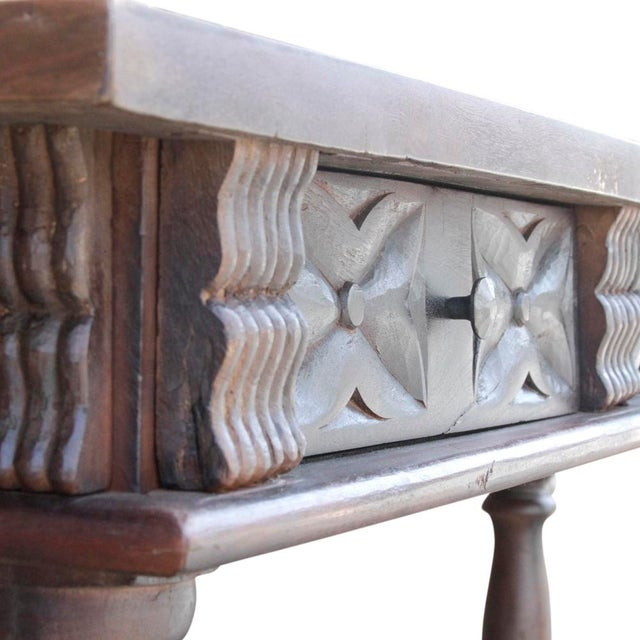 Brown Carved Teak Spanish Colonial Console For Sale - Image 8 of 9