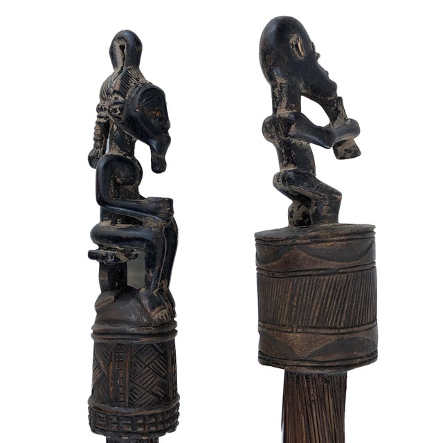 Brown African Baule Brooms with Figures - a Pair For Sale - Image 8 of 10
