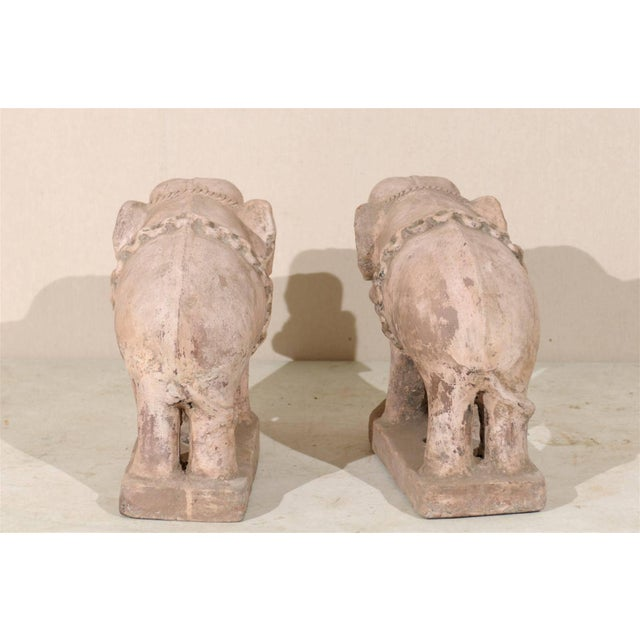 Pair of Eclectic 20th Century British Colonial Terracotta Elephants in Pale Pink For Sale - Image 4 of 9