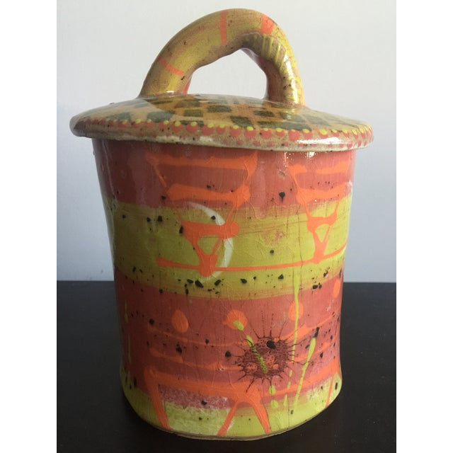 Abstract 1970s Abstract Colorful Glazed Pottery For Sale - Image 3 of 12