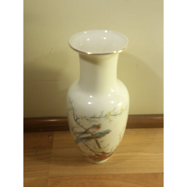 Asian Jay Fine China Porcelain Vase For Sale - Image 3 of 6