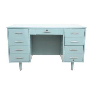 Midcentury Modern Style Blue Executive Desk