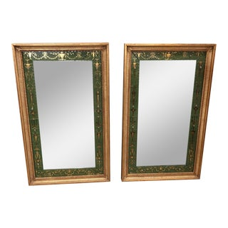 Antique Neoclassical Painted Gilt Mirrors - A Pair