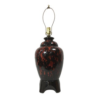Red and Black Drip Glaze California Pottery Urn Shaped Table Lamp For Sale