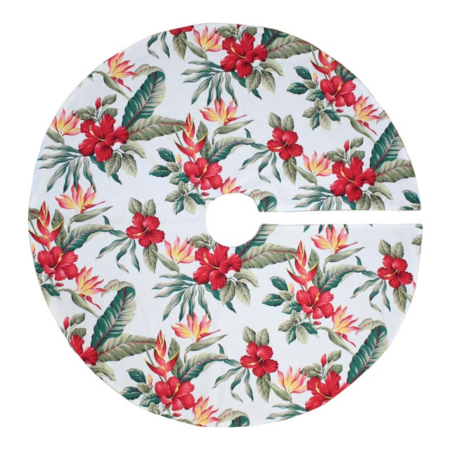 Tommy Bahama Style Tropical Polynesian Hibiscus Flower Christmas in Hawaii Tree Skirt For Sale