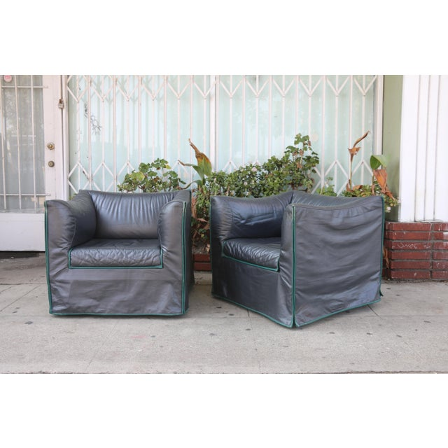 Italian 1980s Vintage Italian Leather Lounge Chairs- A Pair For Sale - Image 3 of 13