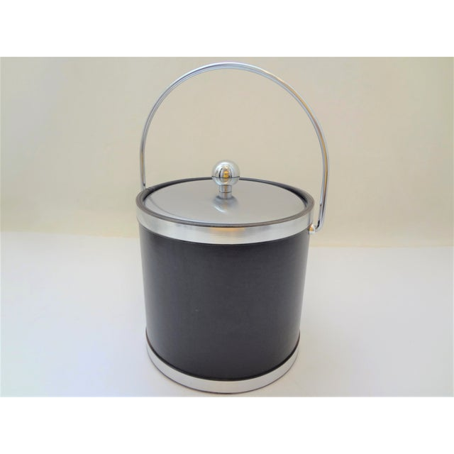 Vintage Mid-Century Kraftware Black and Brushed Chrome Ice Bucket For Sale In Phoenix - Image 6 of 6
