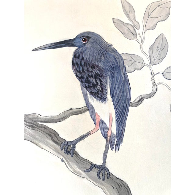 """2020s Chinoiserie Style Bird Painting, """"I've Never Been More Shore"""" For Sale - Image 5 of 9"""