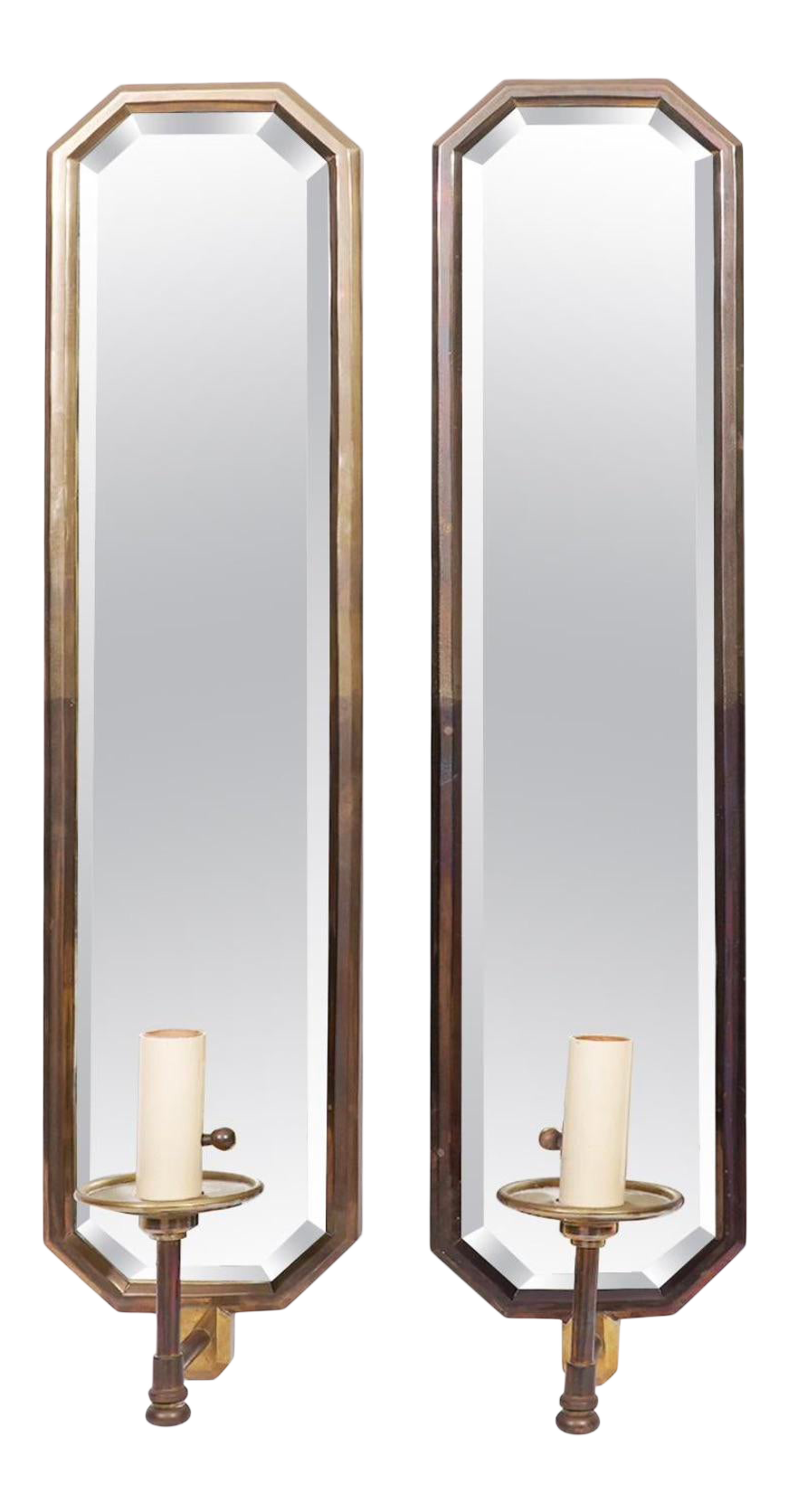 Solid brass mirrored electric wall sconce