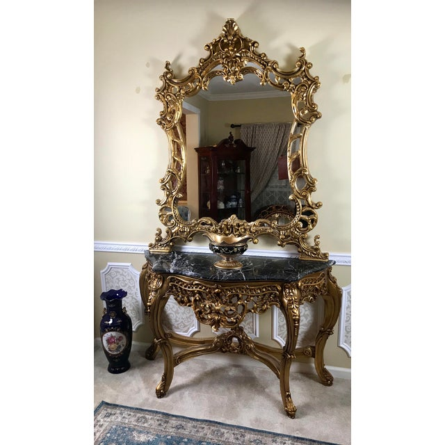 Wood Louis XV Giltwood Mirror & Console For Sale - Image 7 of 7