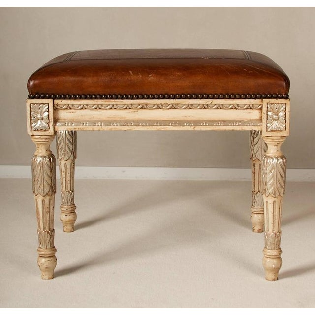 Louis XVI Style Leather Seat Ottomans - A Pair - Image 5 of 7