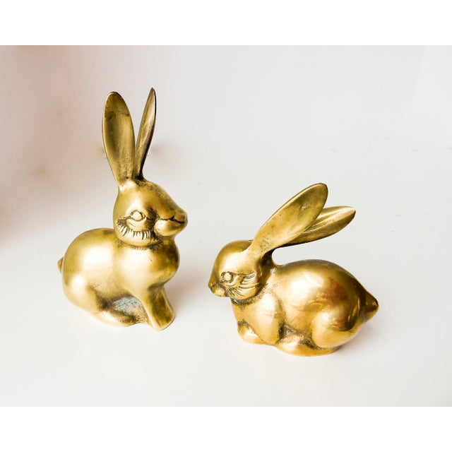 Brass Rabbit Figurines - A Pair - Image 2 of 6