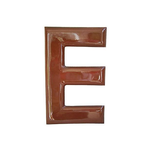 Large 1950s Chocolate Brown Porcelain Letter E - Image 5 of 5