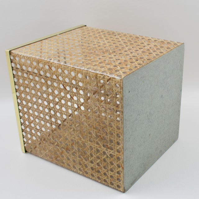 Gold Christian Dior Home Collection 1970s Lucite and Rattan Waste Basket For Sale - Image 8 of 11