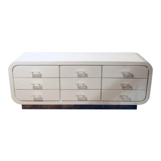 Modernist Chest of Drawers With Lucite Pulls on Chrome Plinth Base For Sale