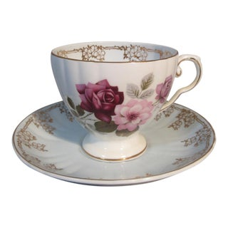 1930s Royal Grafton Flowers and Ornate Gold Bone China Cup & Saucer For Sale