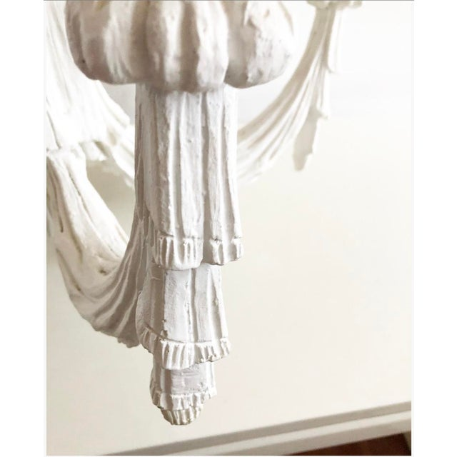 Vintage Dorothy Draper Style Draped White Chandelier For Sale - Image 10 of 13