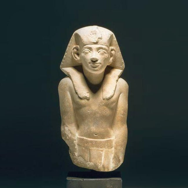 Portraiture Ptolemaic Period Sandstone Sculpture of a King For Sale - Image 3 of 3