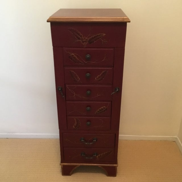 Tall Red Jewelry Chest For Sale - Image 12 of 12