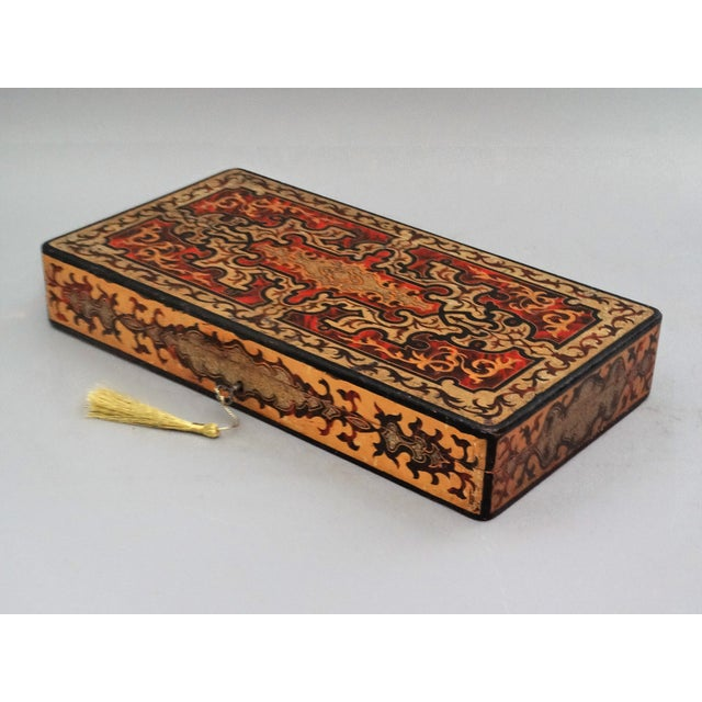 Late 19th Century 19th-Century French Playing Cards Box, Lock & Key, Counters For Sale - Image 5 of 8