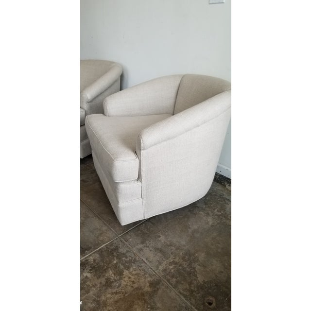 Mid-Century Modern Refurbished Vintage Belgium Linen Swivel Chairs - a Pair For Sale - Image 3 of 7