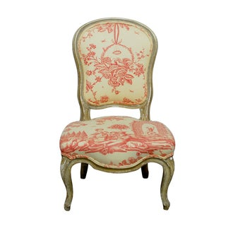 19th Century Louis XV Toile Slipper Chair For Sale