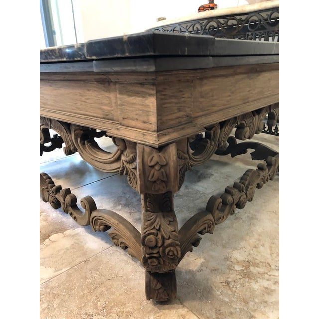 1960s Traditional Coffee Table With Marble Top For Sale - Image 4 of 9