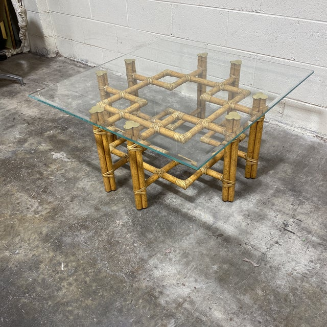 You know you love it! Beautiful McGuire bamboo coffee table in a perfect hue of vintage bamboo with a crackle finish....