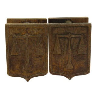 Pair of Wooden Imported Double Door Pulls For Sale