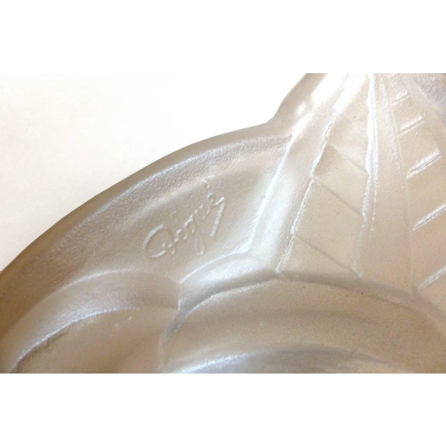 Degue French Art Deco Cast Mauve Glass Pendant Chandelier, Signed, Circa 1930 For Sale - Image 10 of 13