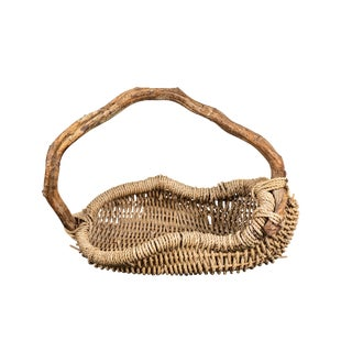 Asymmetric Willow Twig and Birch Branch Basket For Sale