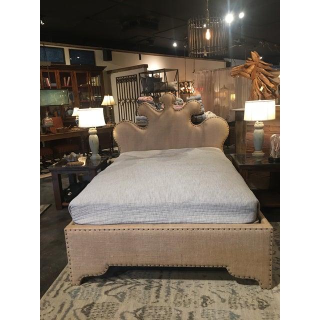 Hollywood Regency Noir Queen Burlap Bed For Sale - Image 3 of 10
