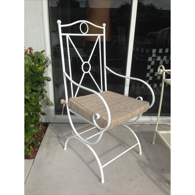 Handmade White Wrought Iron Patio Dining Set For Sale In Miami - Image 6 of 6