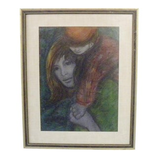 Vintage Mid Century Signed Mother and Child Wall Art For Sale