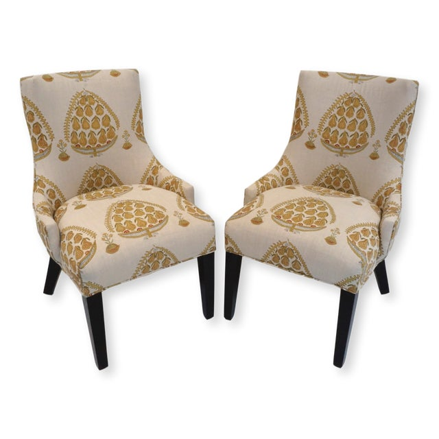 Black John Robshaw Upholstered Accent Chairs- a Pair For Sale - Image 8 of 8