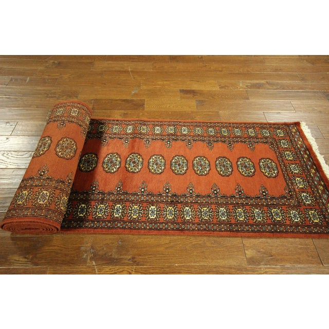 "Bokhara Orange Hand Made Wool Rug - 2'6"" x 16'1"" - Image 7 of 8"