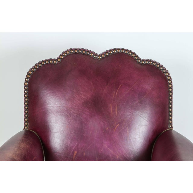 French Leather Club Lounge Chair For Sale - Image 4 of 9